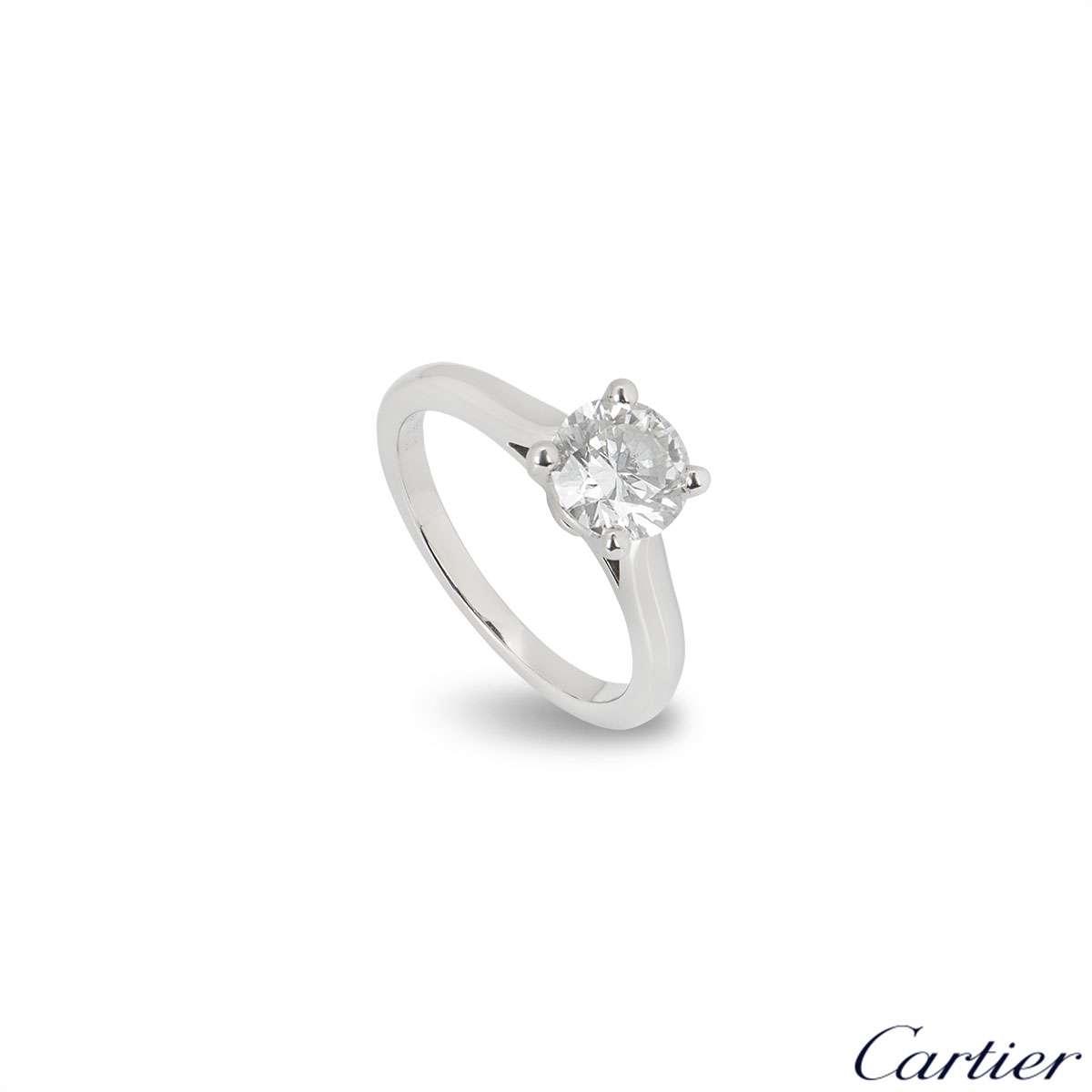 Cartier Platinum Diamond 1895 Solitaire Ring 1.09ct H/VVS2 XXX
